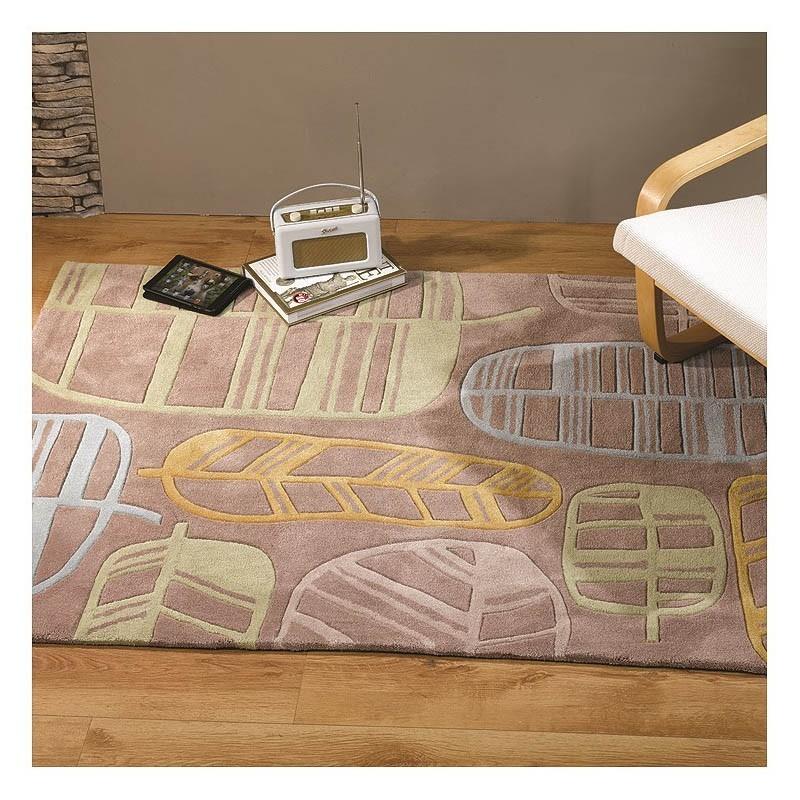 tapis tuft main jaune fossil leaf flair rugs 120x170. Black Bedroom Furniture Sets. Home Design Ideas