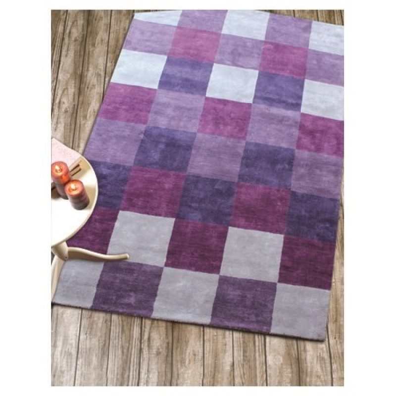 tapis violet glade check flair rugs 90x150. Black Bedroom Furniture Sets. Home Design Ideas