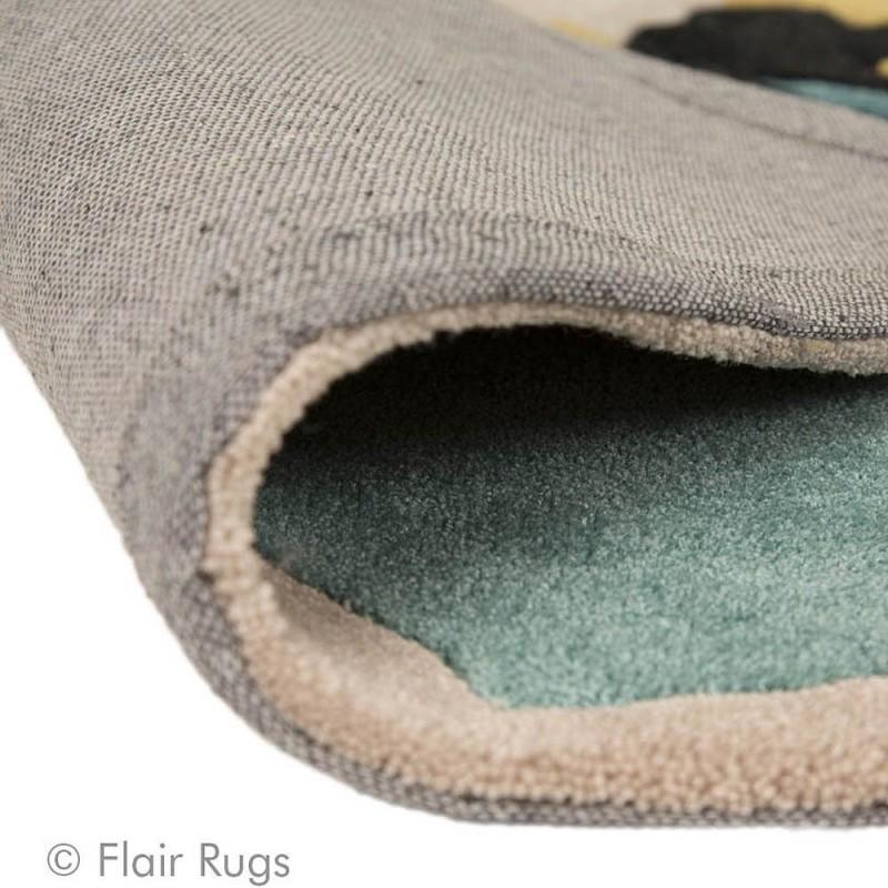 tapis tuft main bleu et ocre bloom flair rugs 80x150. Black Bedroom Furniture Sets. Home Design Ideas