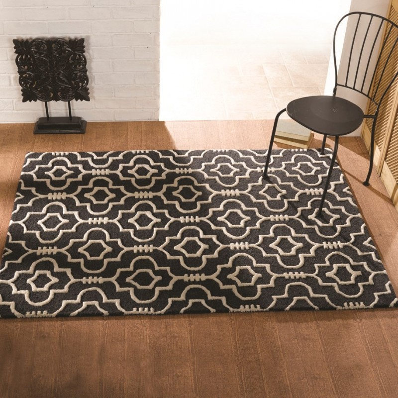Tapis laine fait main anthracite morocoo flair rugs 80x150 for A visionary salon