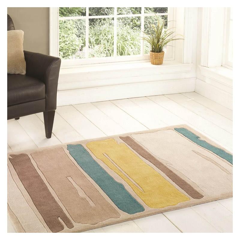 tapis tuft main jaune paint strokes flair rugs 80x150. Black Bedroom Furniture Sets. Home Design Ideas