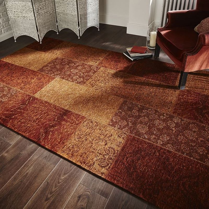 Port Offert ! Tapis Flair Rugs Patchwork Chenille Orange