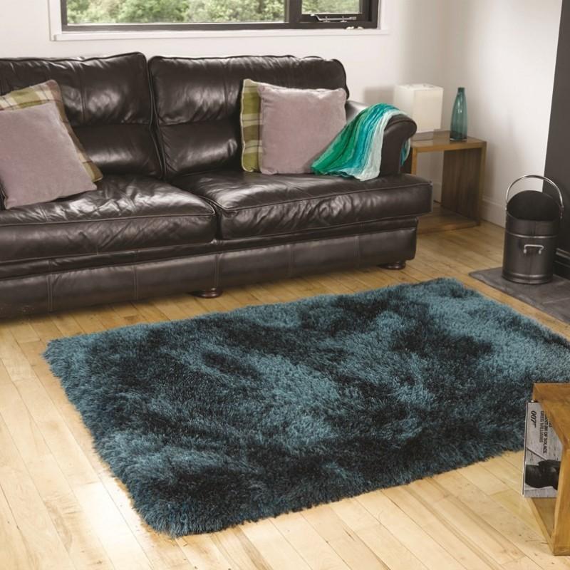 tapis shaggy tuft main bleu pearl flair rugs 120x170. Black Bedroom Furniture Sets. Home Design Ideas