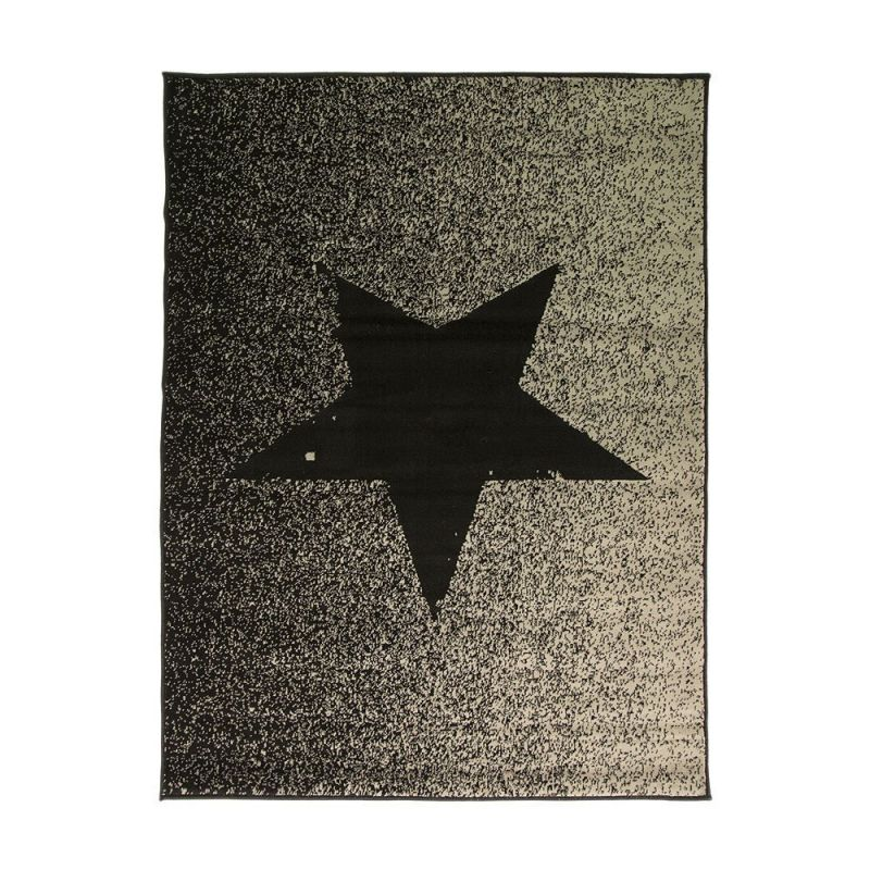tapis toile noir et gris star flair rugs 120x160. Black Bedroom Furniture Sets. Home Design Ideas