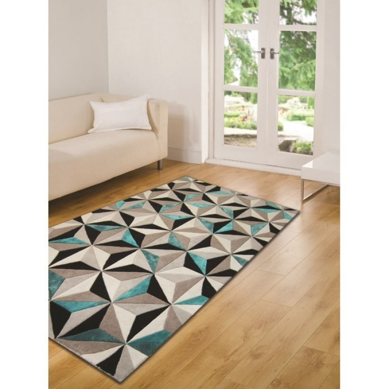 tapis laine fait main bleu scorpio flair rugs 120x180. Black Bedroom Furniture Sets. Home Design Ideas