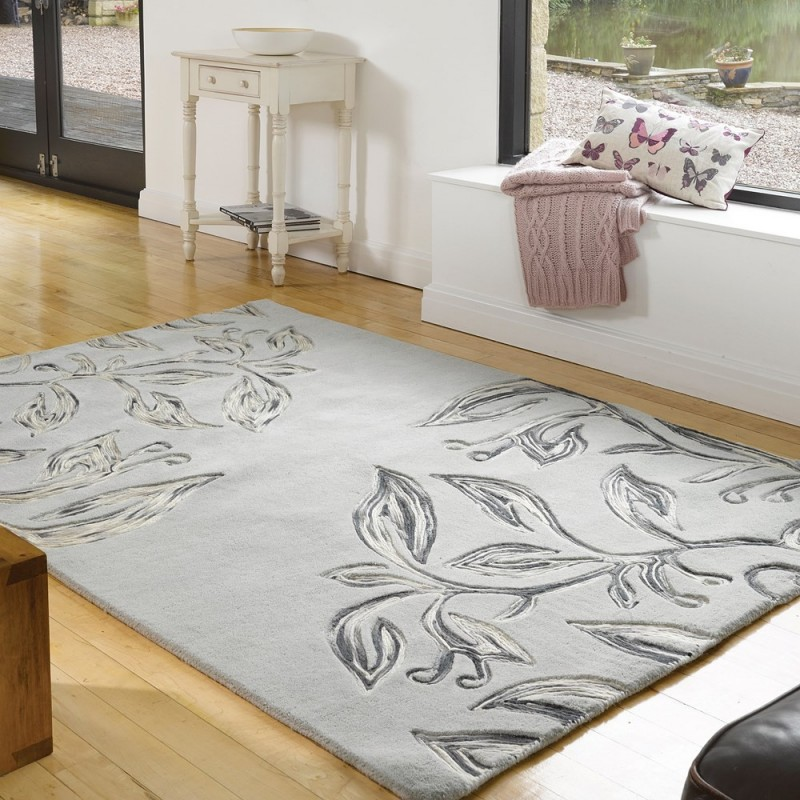 tapis fait main gris florali flair rugs 160x230. Black Bedroom Furniture Sets. Home Design Ideas