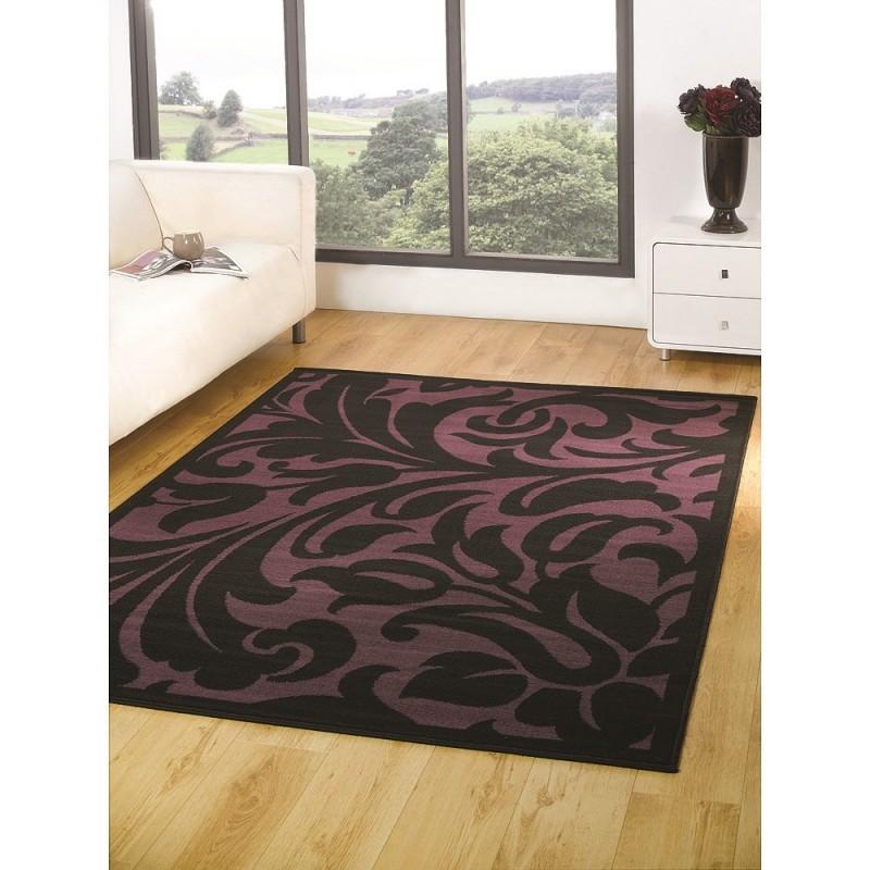 tapis noir et violet warwick flair rugs 120x160