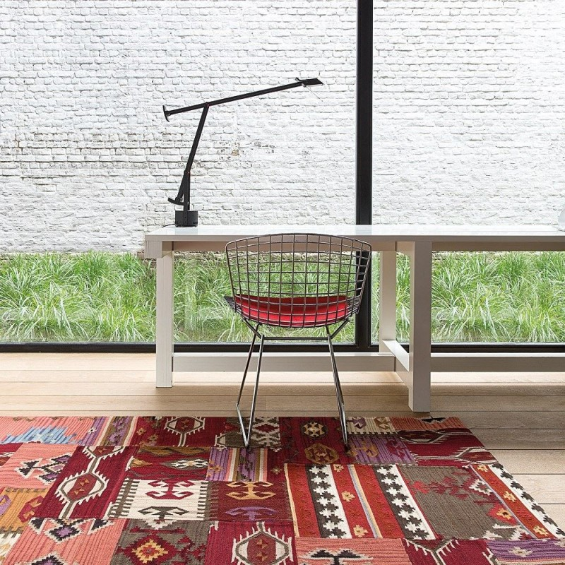 tapis ligne pure kilim enjoy en laine rouge 200x300. Black Bedroom Furniture Sets. Home Design Ideas