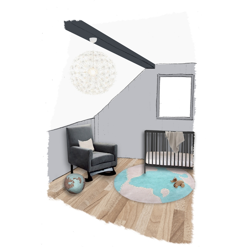 tapis rond pour enfant globe mondito bleu nattiot 110x110. Black Bedroom Furniture Sets. Home Design Ideas