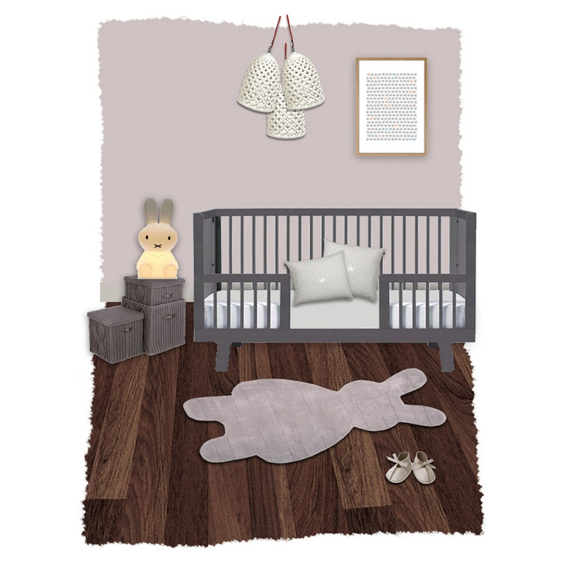 tapis enfant bunny gris nattiot 85x140. Black Bedroom Furniture Sets. Home Design Ideas
