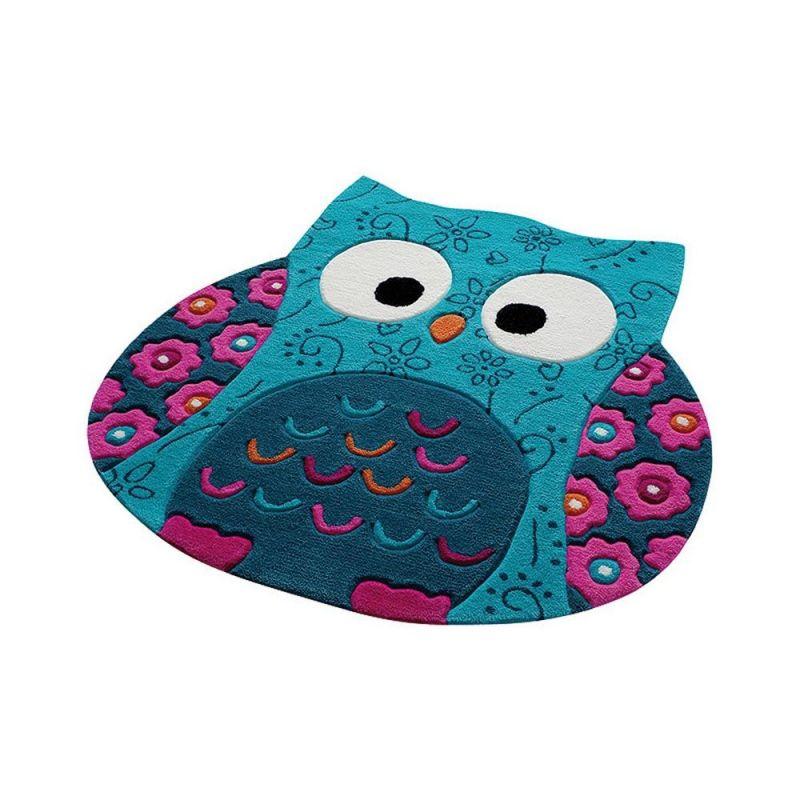 tapis enfant littel owl smart kids bleu 100x100. Black Bedroom Furniture Sets. Home Design Ideas