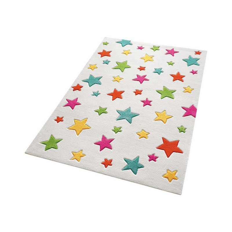 tapis enfant smart kids multicolore tuft main simple stars 130x190. Black Bedroom Furniture Sets. Home Design Ideas