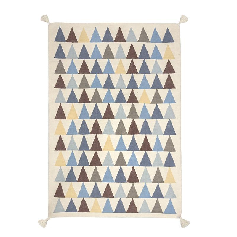 Tapis Enfant Tisse Main En Laine Triangle Bleu Art For Kids 110x160