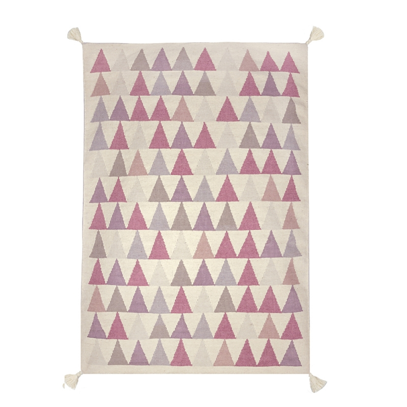 tapis enfant triangle rose tiss main en laine art for kids 110x160. Black Bedroom Furniture Sets. Home Design Ideas