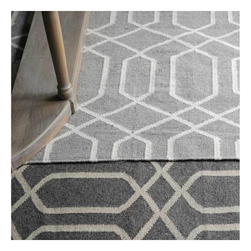 tapis kilim fait main tarim gris the rug republic 160x230. Black Bedroom Furniture Sets. Home Design Ideas