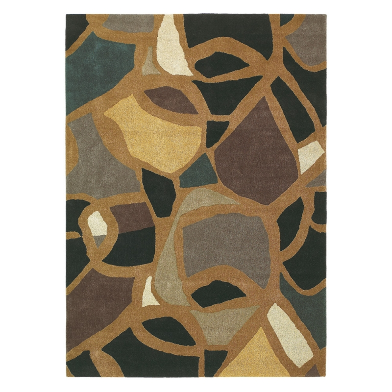 tapis tuft main xian mosaic brink campman marron 200x300. Black Bedroom Furniture Sets. Home Design Ideas
