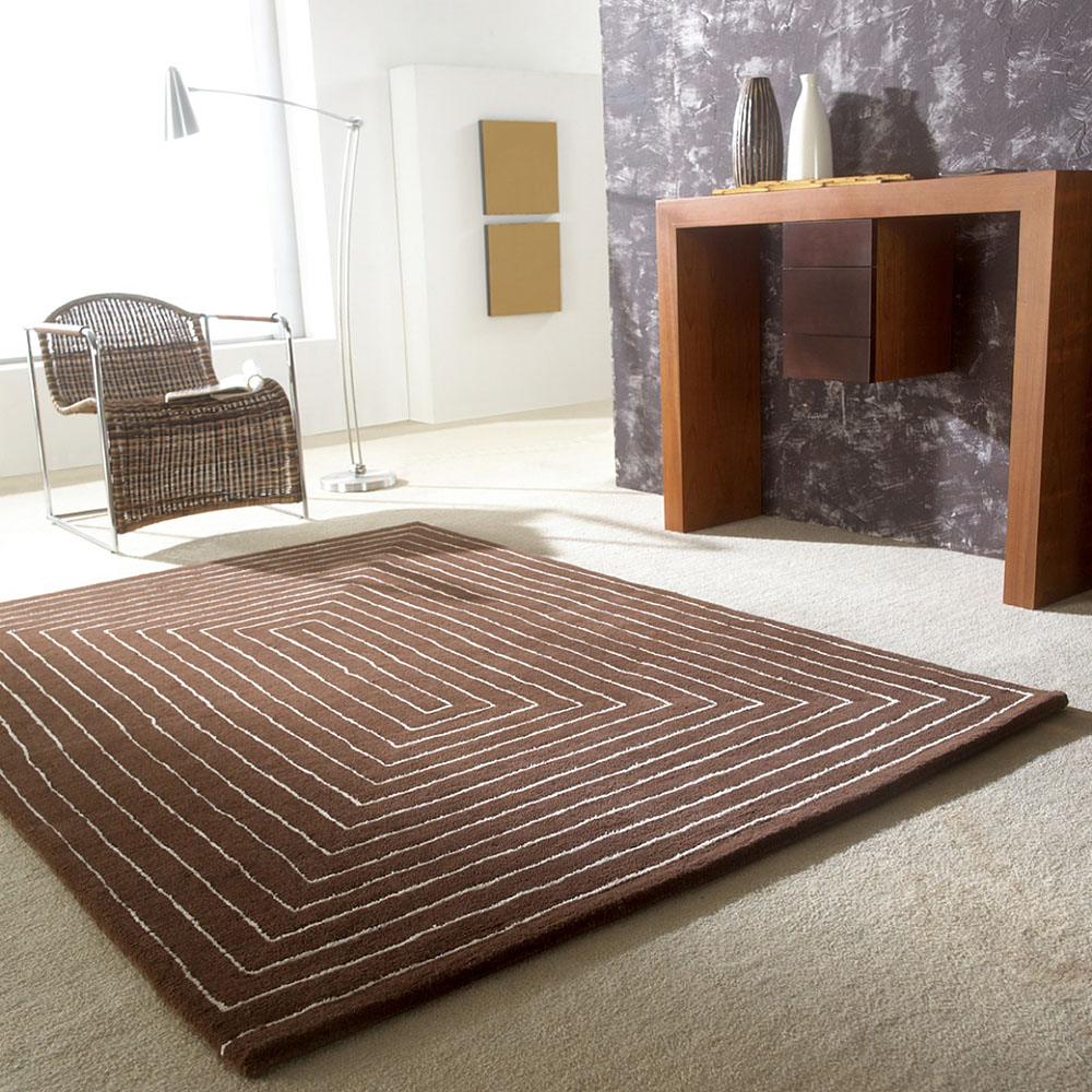 Tapis Tridimensional Carving Marron En Laine 140x200