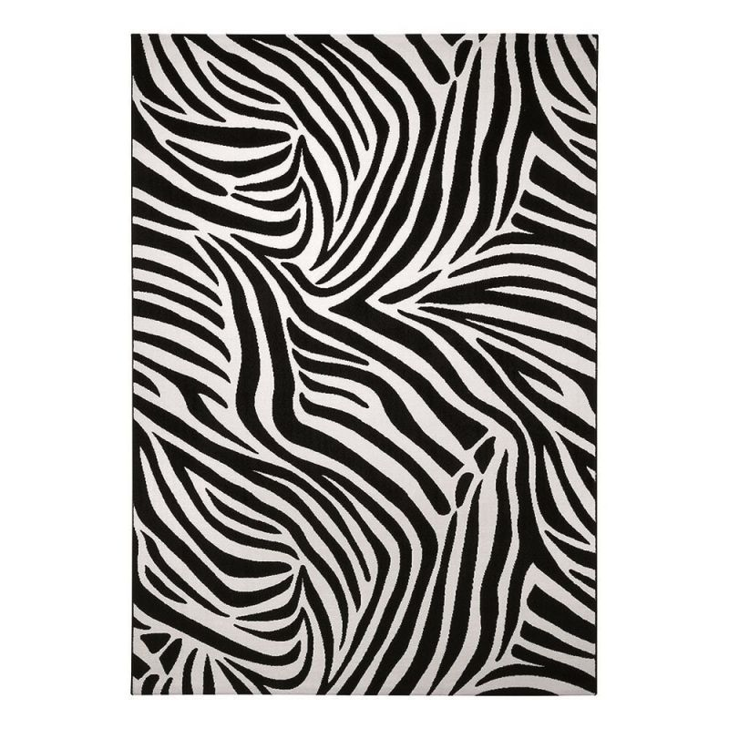 tapis moderne noir et blanc zebra wecon 200x290. Black Bedroom Furniture Sets. Home Design Ideas