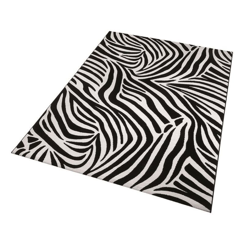 tapis moderne zebra noir et blanc wecon 80x150. Black Bedroom Furniture Sets. Home Design Ideas
