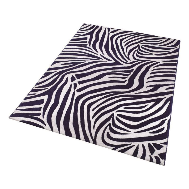 tapis moderne bleu et blanc zebra wecon 200x290. Black Bedroom Furniture Sets. Home Design Ideas