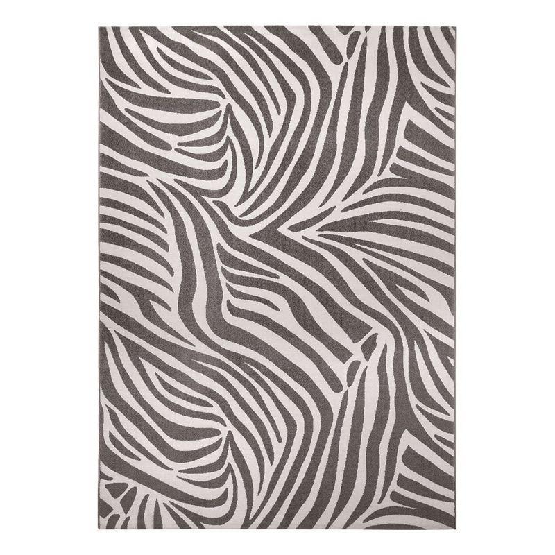 Tapis Moderne Wecon Zebra Gris Et Blanc 120x170