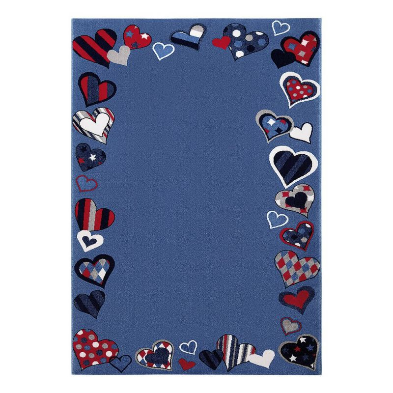 tapis enfant bleu just hearts wecon 120x170. Black Bedroom Furniture Sets. Home Design Ideas
